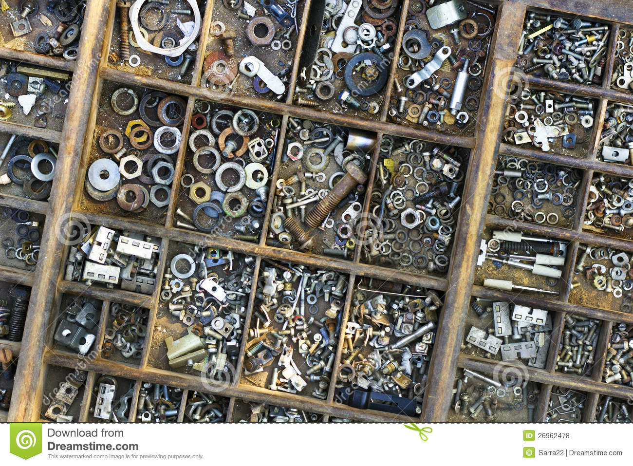 Wooden Typesetter Case With Nuts Bolts Washers Stock