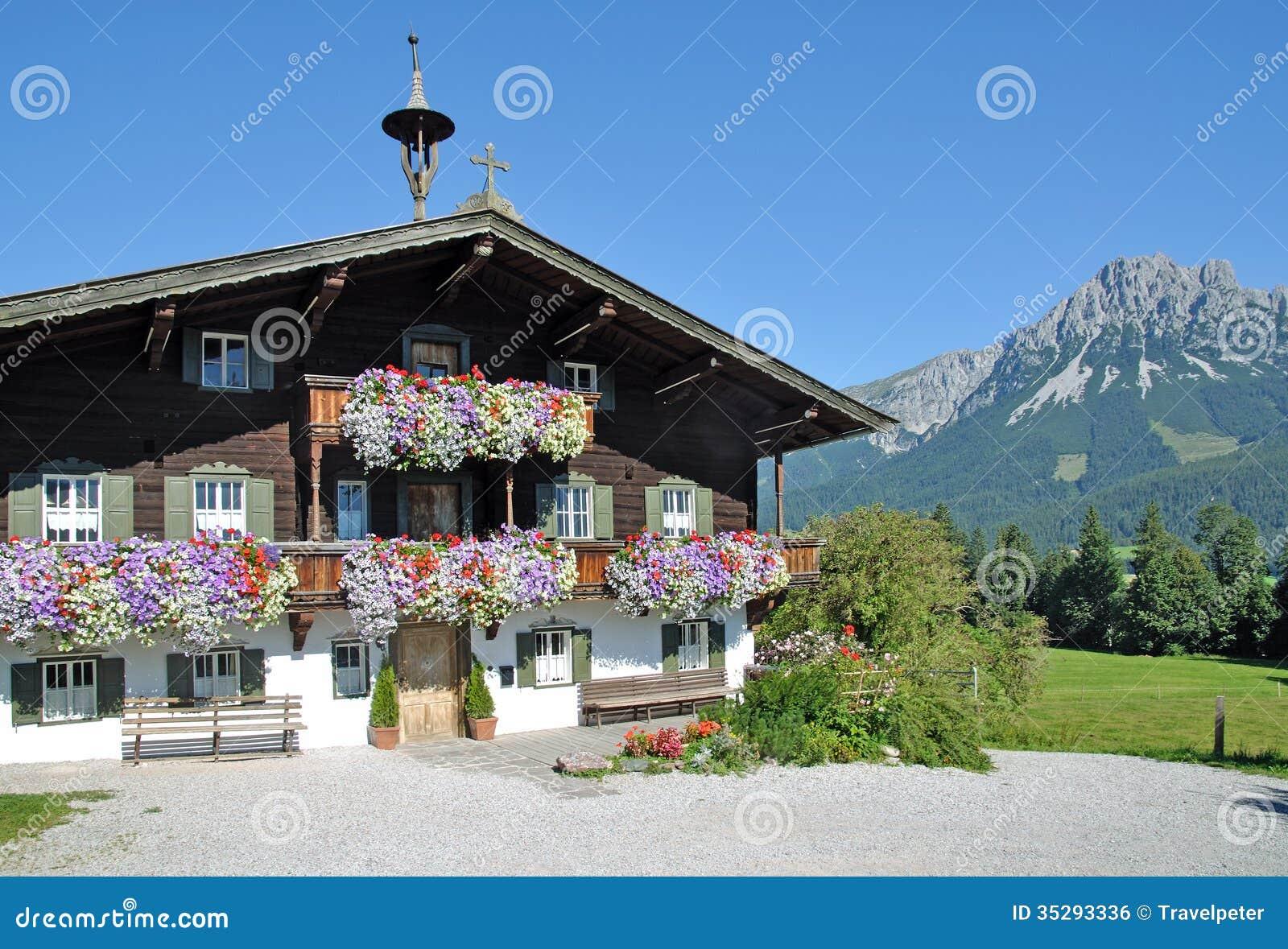 wooden tyrolean house ellmau tirol austria royalty free