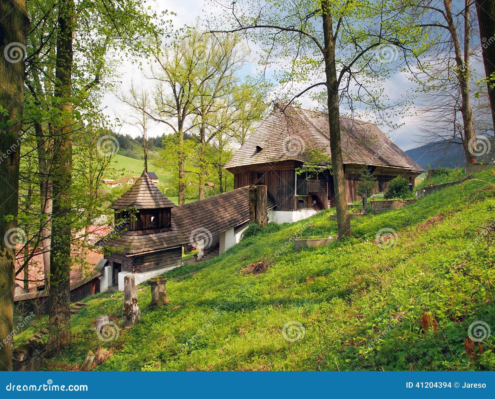Wooden UNESCO church in Lestiny, Slovakia