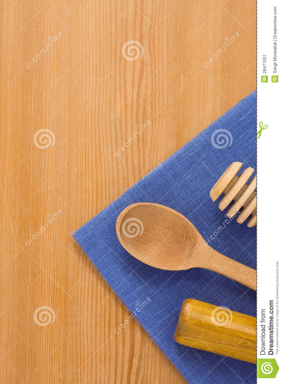 Wooden utensils on table royalty free stock photography for Table utensils