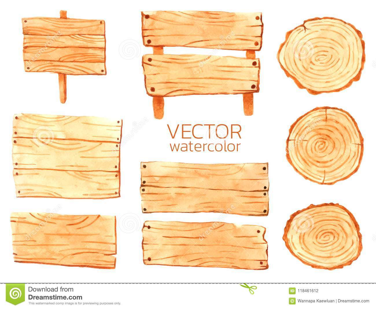 Wooden Vector, Set Of Wooden For Design. Decorative Wood Banners ...