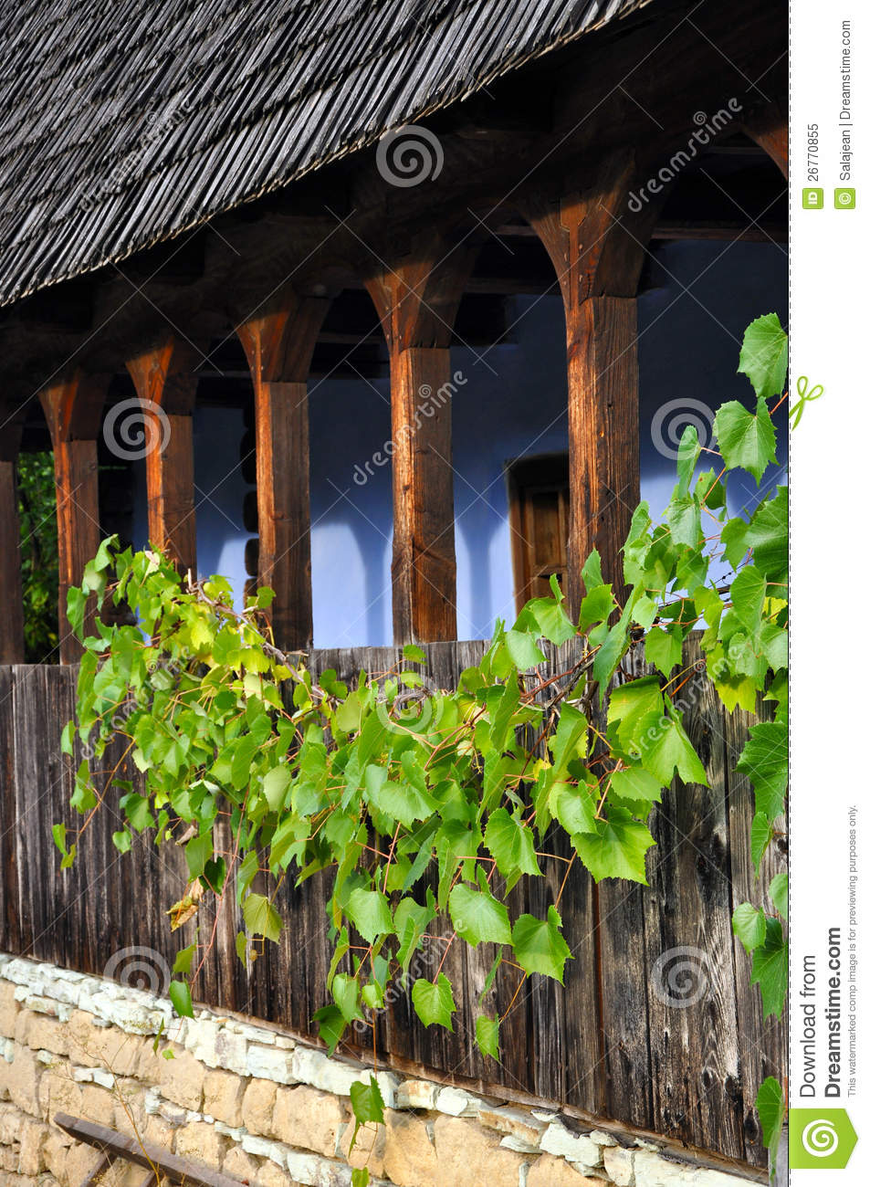 wooden veranda with grape leaves royalty free stock photo image 26770855. Black Bedroom Furniture Sets. Home Design Ideas