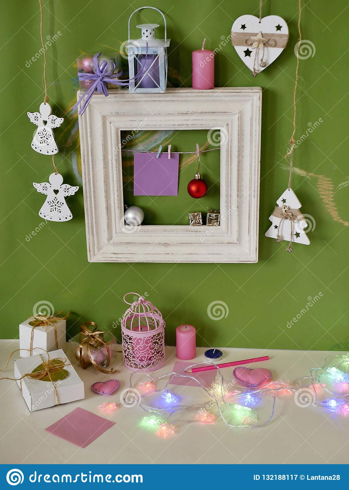 Wooden Vintage Frame With Decor On A Green Background