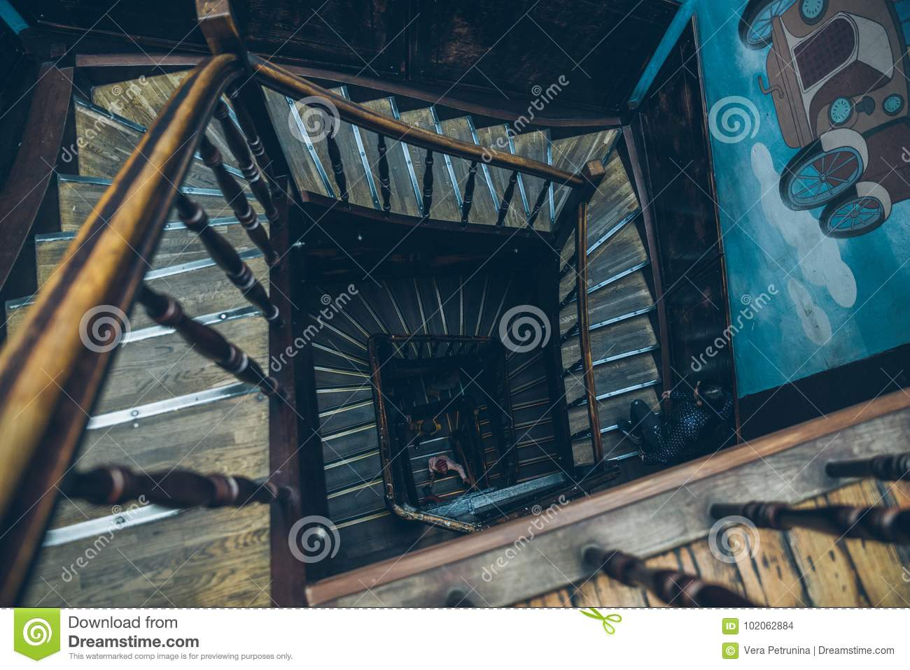 Download Vintage Spiral Staircase Editorial Stock Image. Image Of  Architecture   102062884