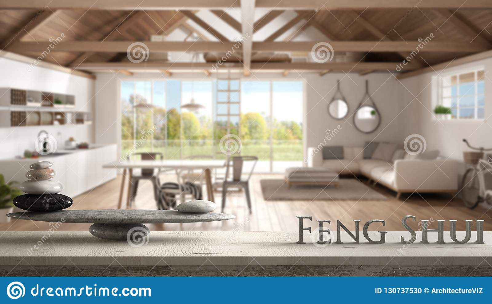 Wooden vintage table shelf with stone balance and 3d letters making the word feng shui over mezzanine loft, kitchen, living and be