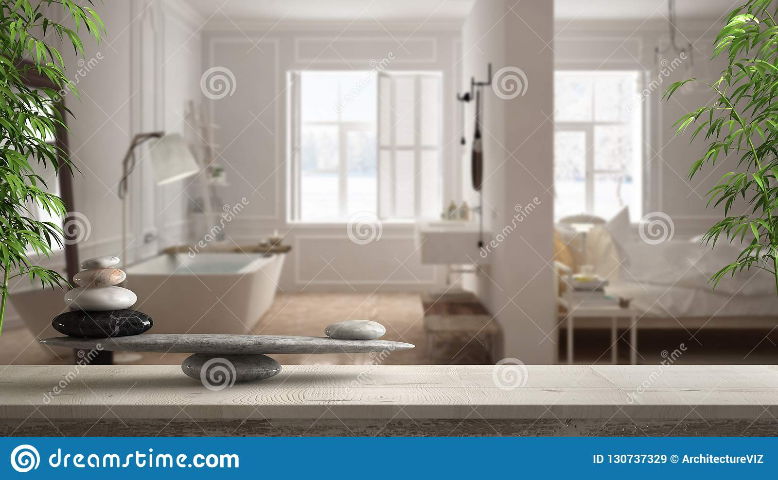 Wooden vintage table or shelf with stone balance, over blurred scandinavian bedroom and bathroom with panoramic window, feng shui,