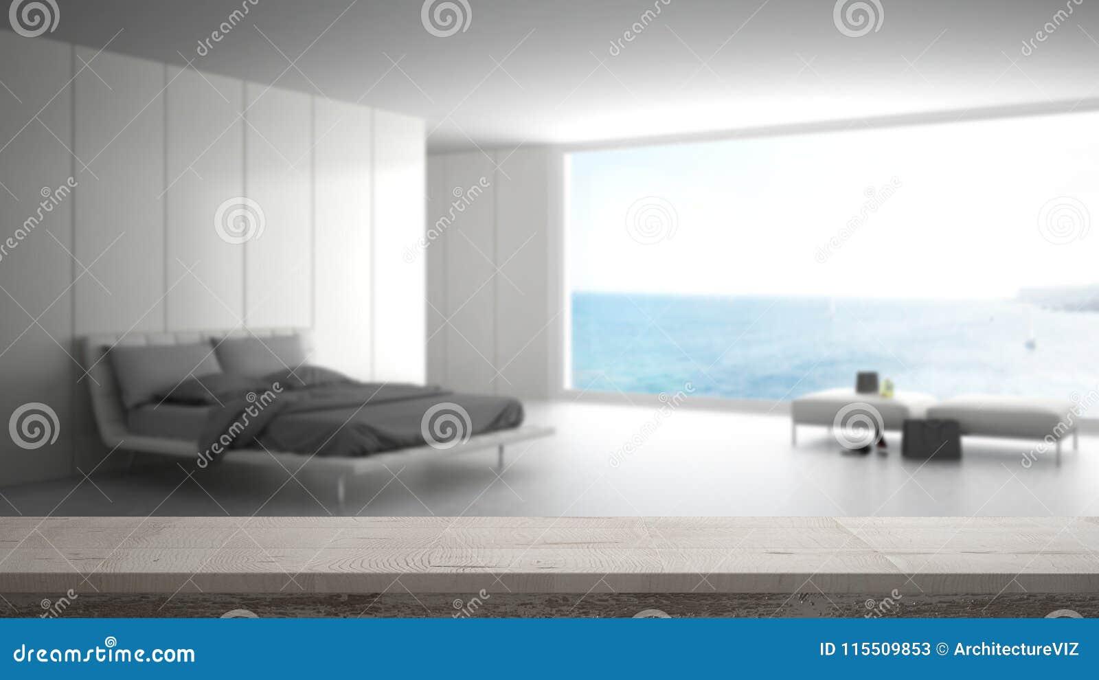 Download Wooden Vintage Table Top Or Shelf Closeup Zen Mood Over Blurred Minimalist Bedroom