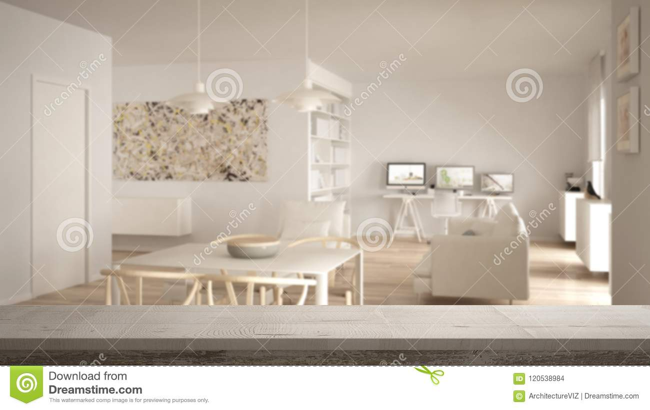 Wooden vintage table top or shelf closeup, zen mood, over blurred minimalist white living room with home workplace, white architec
