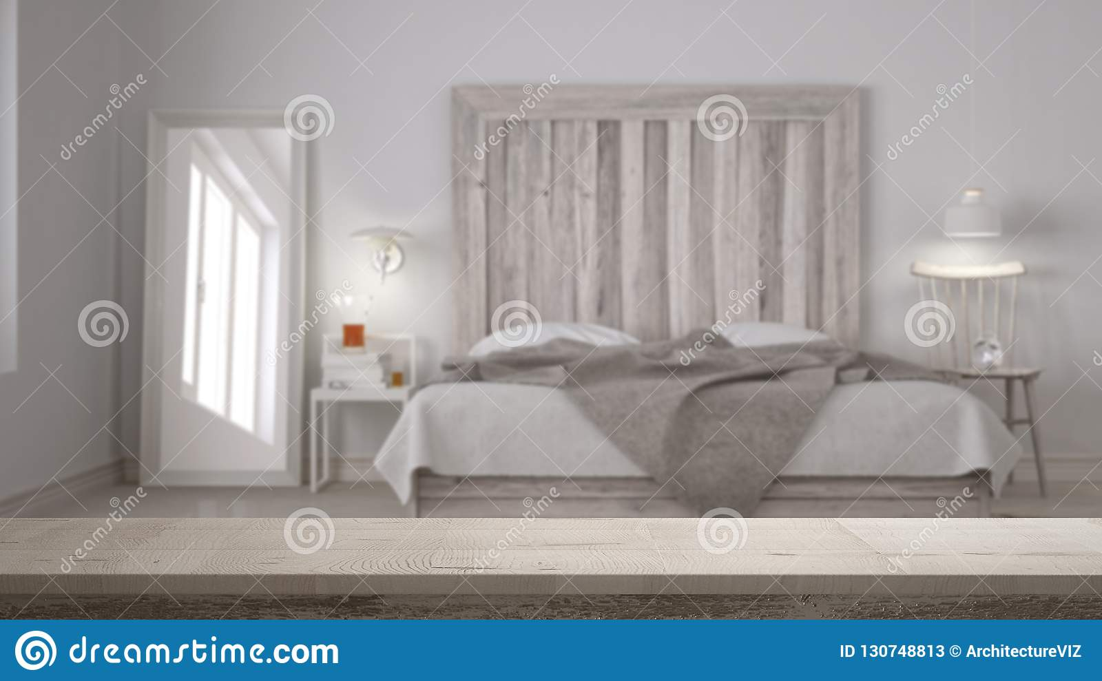 Wooden Vintage Table Top Or Shelf Closeup Zen Mood Over Blurred Scandinavian Bedroom With Wooden Headboard White Architecture Stock Image Image Of Mood White 130748813