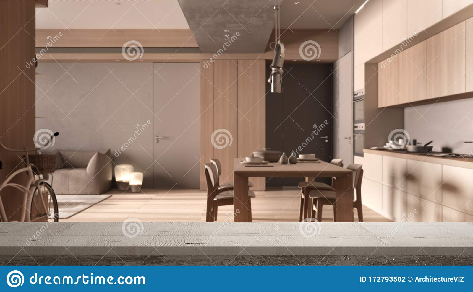 Wooden Vintage Table Top Or Shelf Closeup Zen Mood Over Minimalist Kitchen With Dining Room In Beige Tones With Wood And Stock Illustration Illustration Of Architecture Mockup 172793502