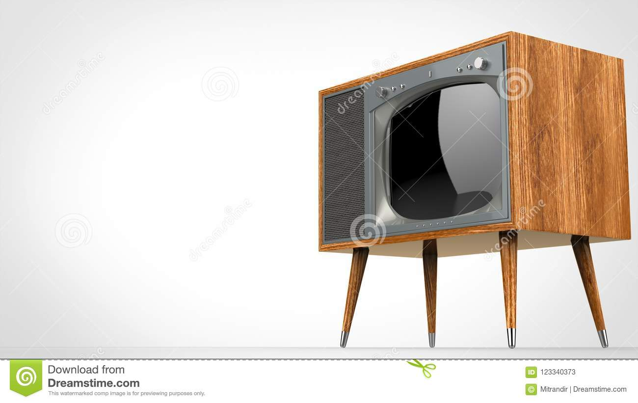 Wooden vintage TV set with silver front
