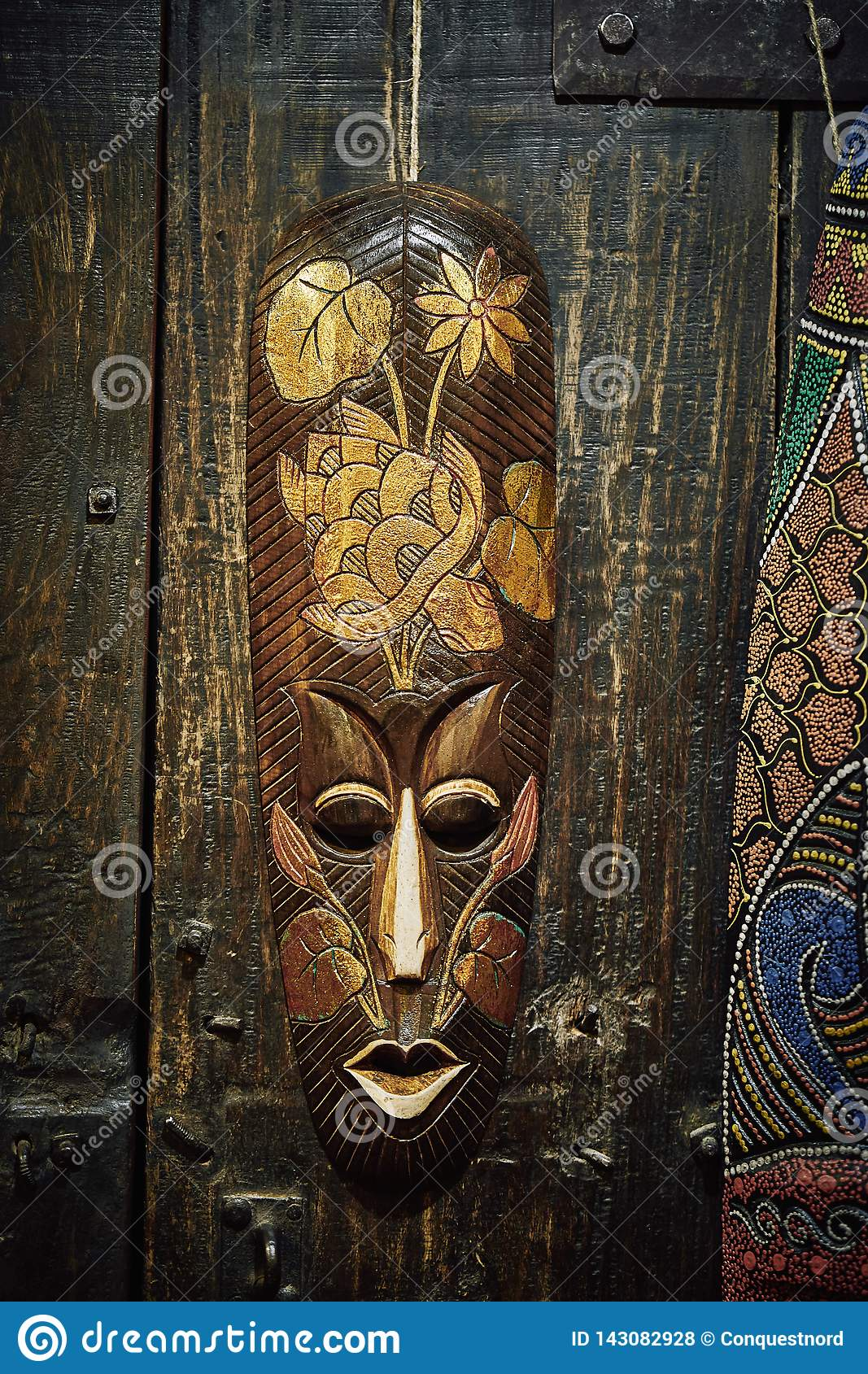 Wooden voodoo mask
