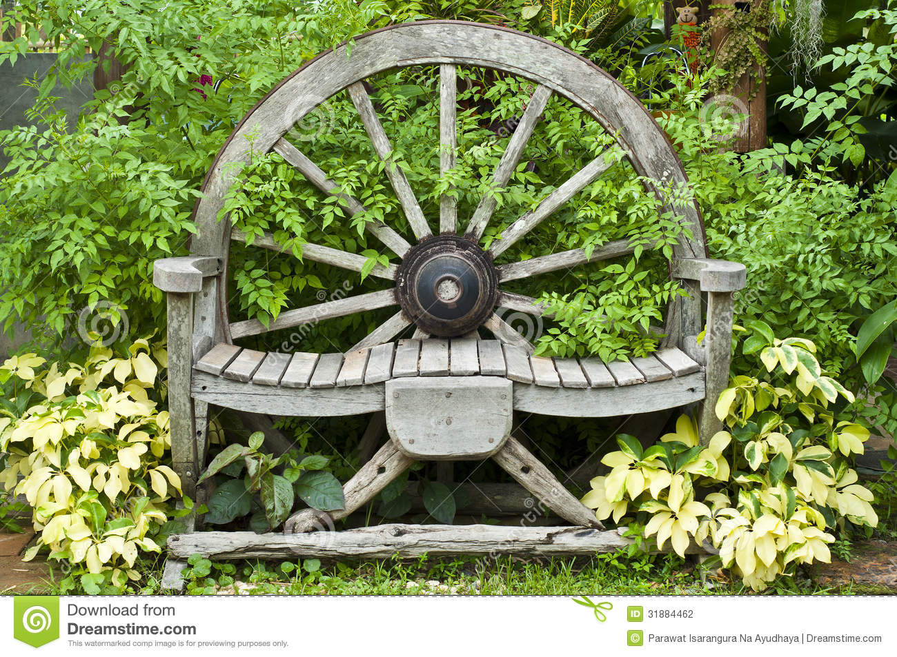 Wooden Wagon Wheel Chair Stock Photo Image Of Armchair 31884462