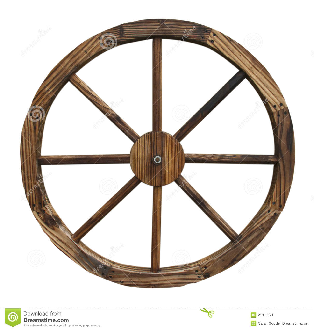 Wooden Wagon Wheels ~ Wooden wagon wheel isolated on white background stock