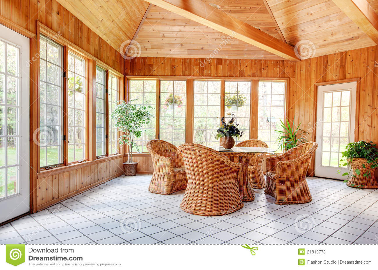 Wooden wall sun room interior stock photos image 21819773 for Sunroom interior walls
