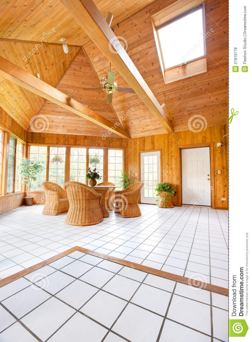 Wooden wall sun room interior royalty free stock photos for Sunroom interior walls
