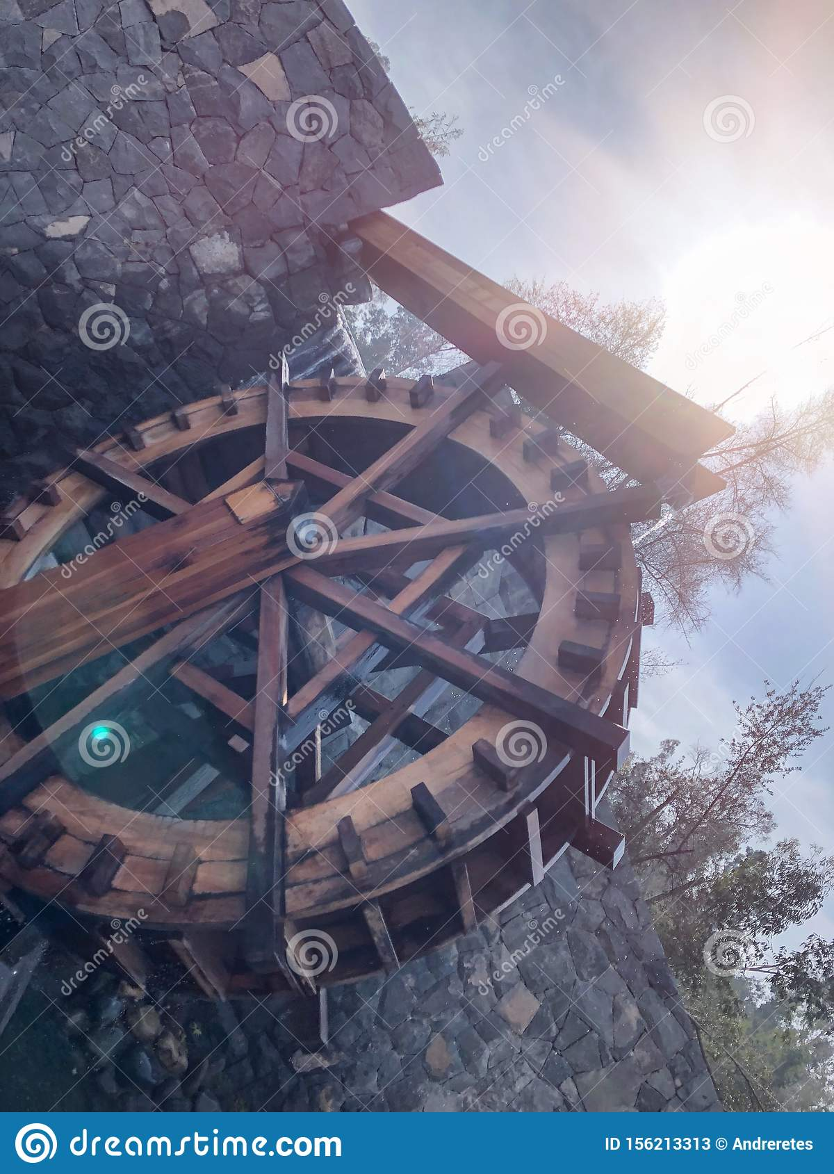 Wooden water mill, water wheel, traditional agriculture