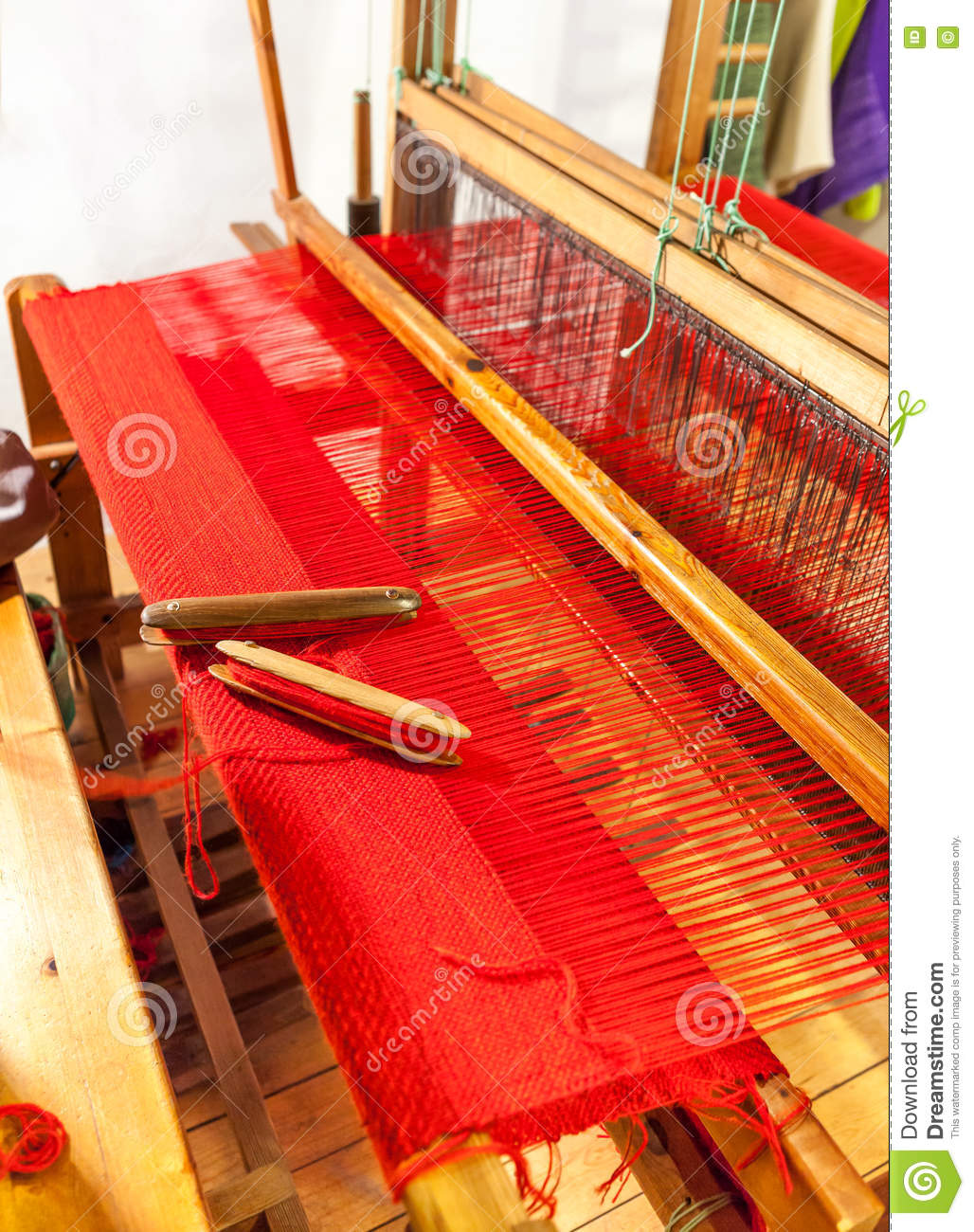 Wooden Weaving Shuttle On An Old Manual Loom. Stock Photo ...