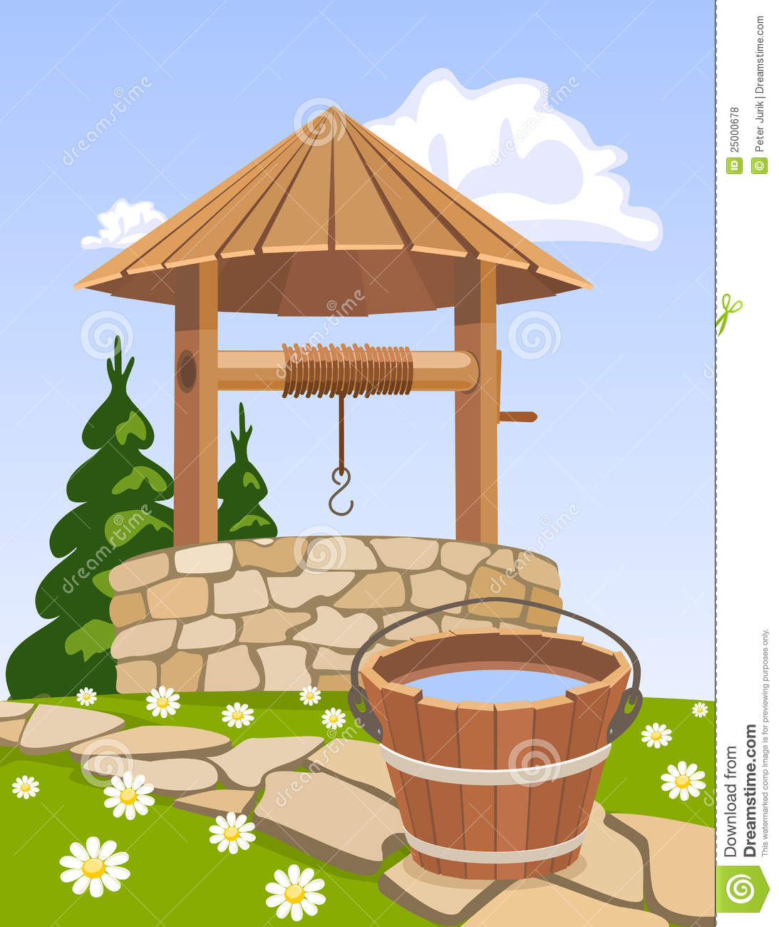 Wooden well and bucket of water