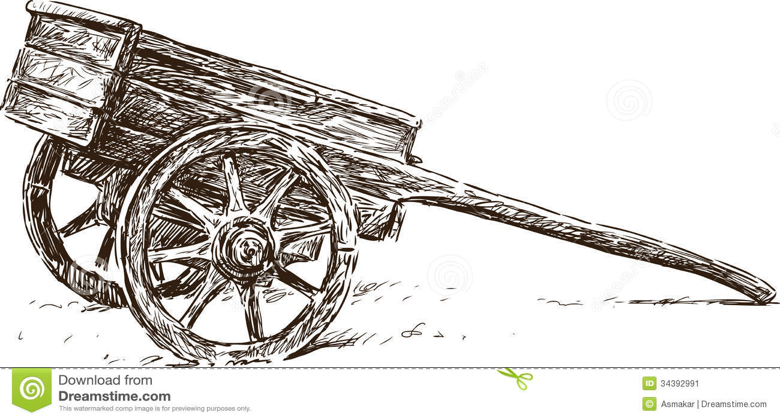 Wooden Wheelbarrow Stock Image Image 34392991