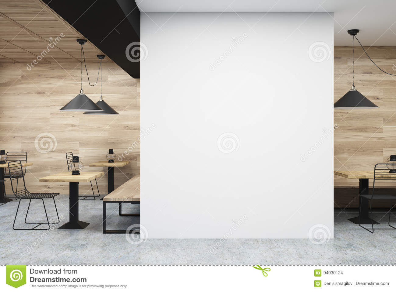 wooden and white cafe, wall stock illustration - image: 94930124