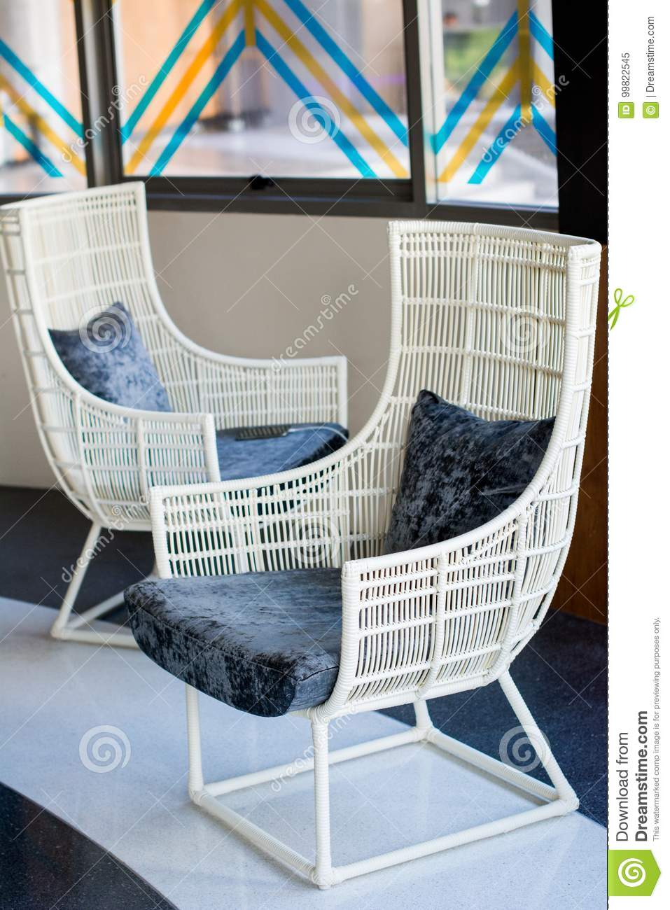Awesome Wooden White Chair With Pillow Stock Image Image Of Forskolin Free Trial Chair Design Images Forskolin Free Trialorg