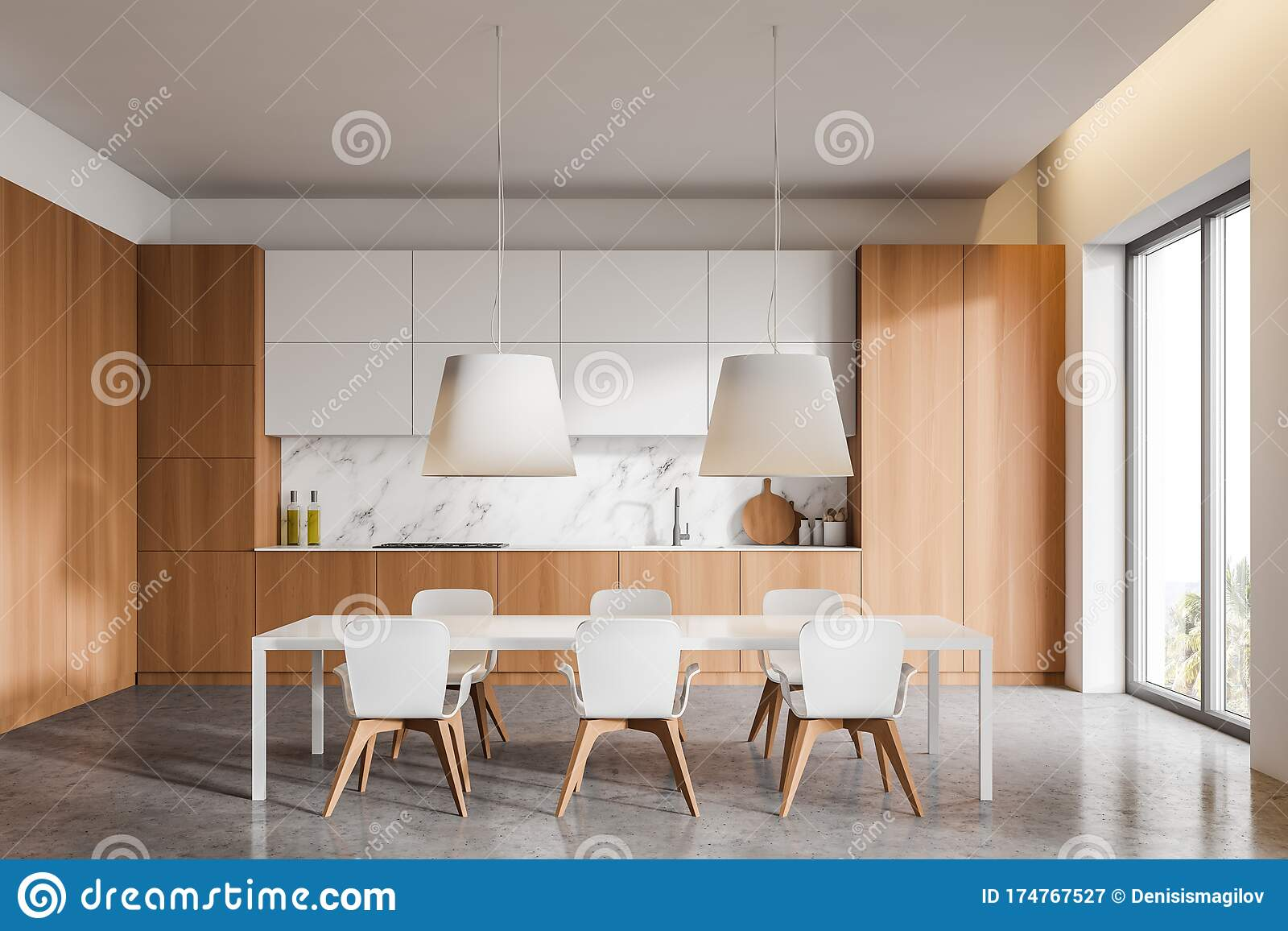 Wooden And White Kitchen With Dining Table Stock Illustration Illustration Of Decorate Comfort 174767527