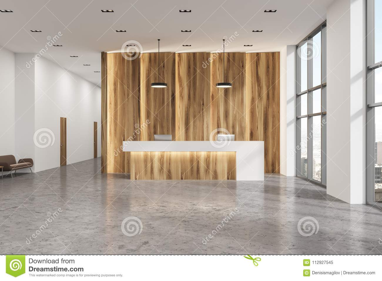 Modern office lobby Lounge Wooden And White Reception Desk Standing In Modern Office Hall With Concrete Floor 3d Rendering Mock Up Dreamstimecom Wooden And White Reception Office Lobby Stock Illustration