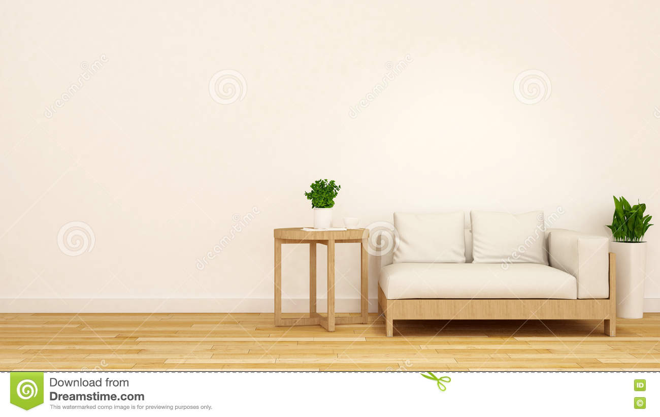 Wooden and white sofa with coffee table and plant 3d for Sofa table for plants