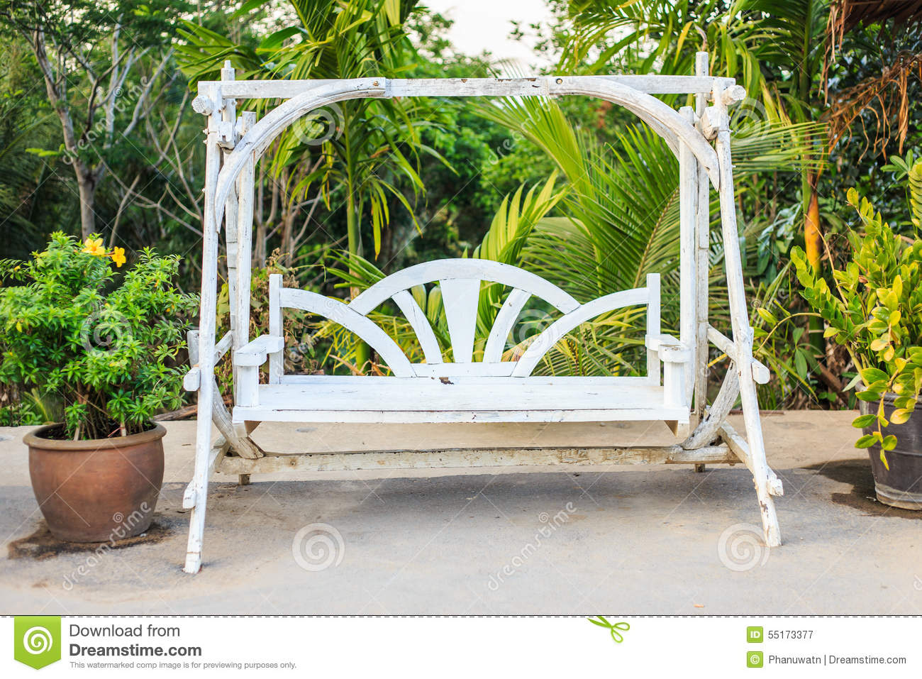 Wooden White Swing Stock Image Image Of Recreation Wood