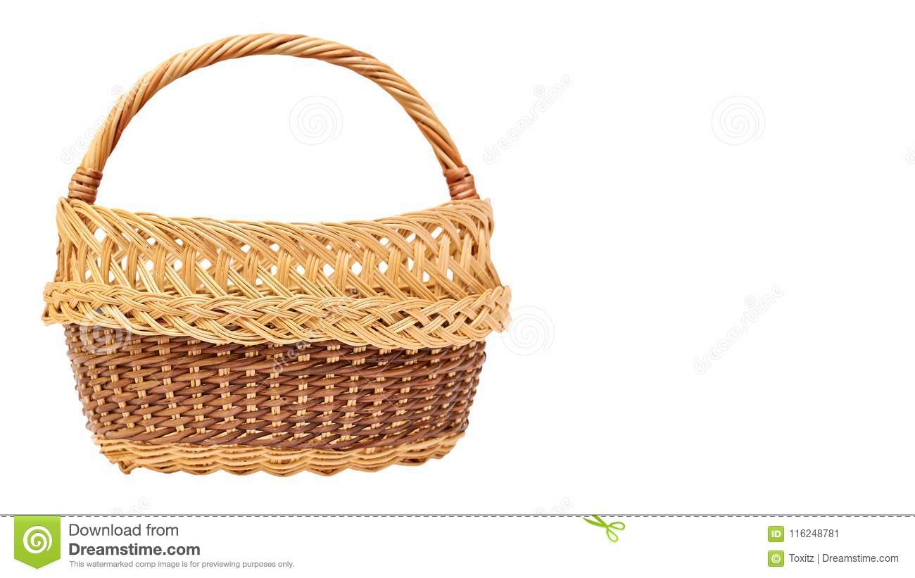 wooden wicker basket isolated on white background copy space