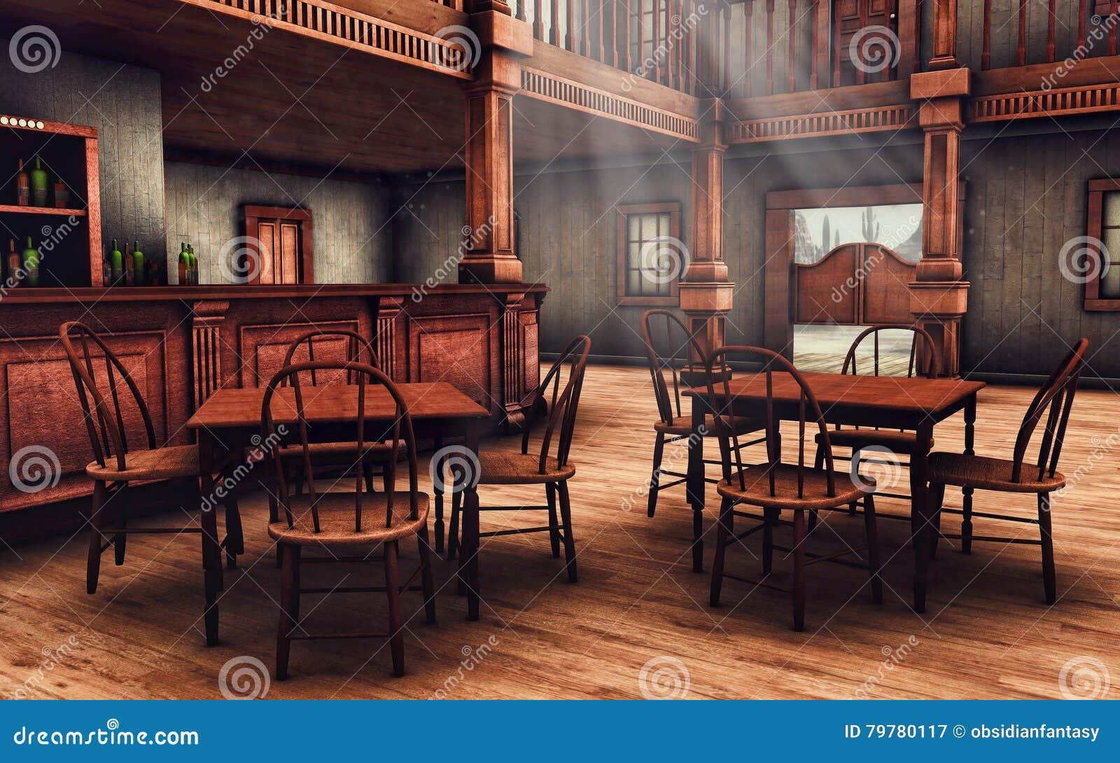 wooden wild west saloon stock illustration illustration of stairs 79780117. Black Bedroom Furniture Sets. Home Design Ideas