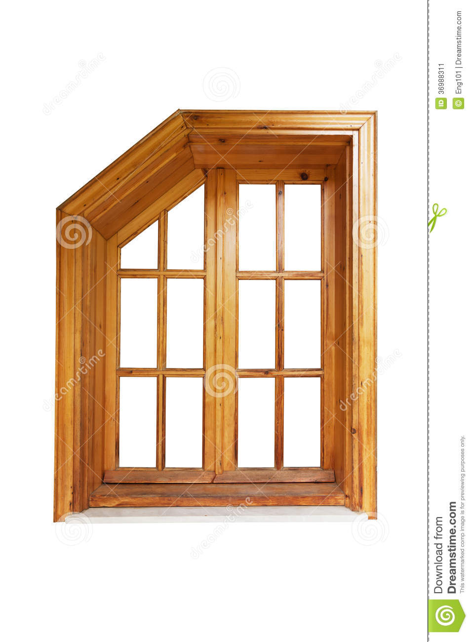 Wooden window with cut corner and casing stock image for Exterior window casement design