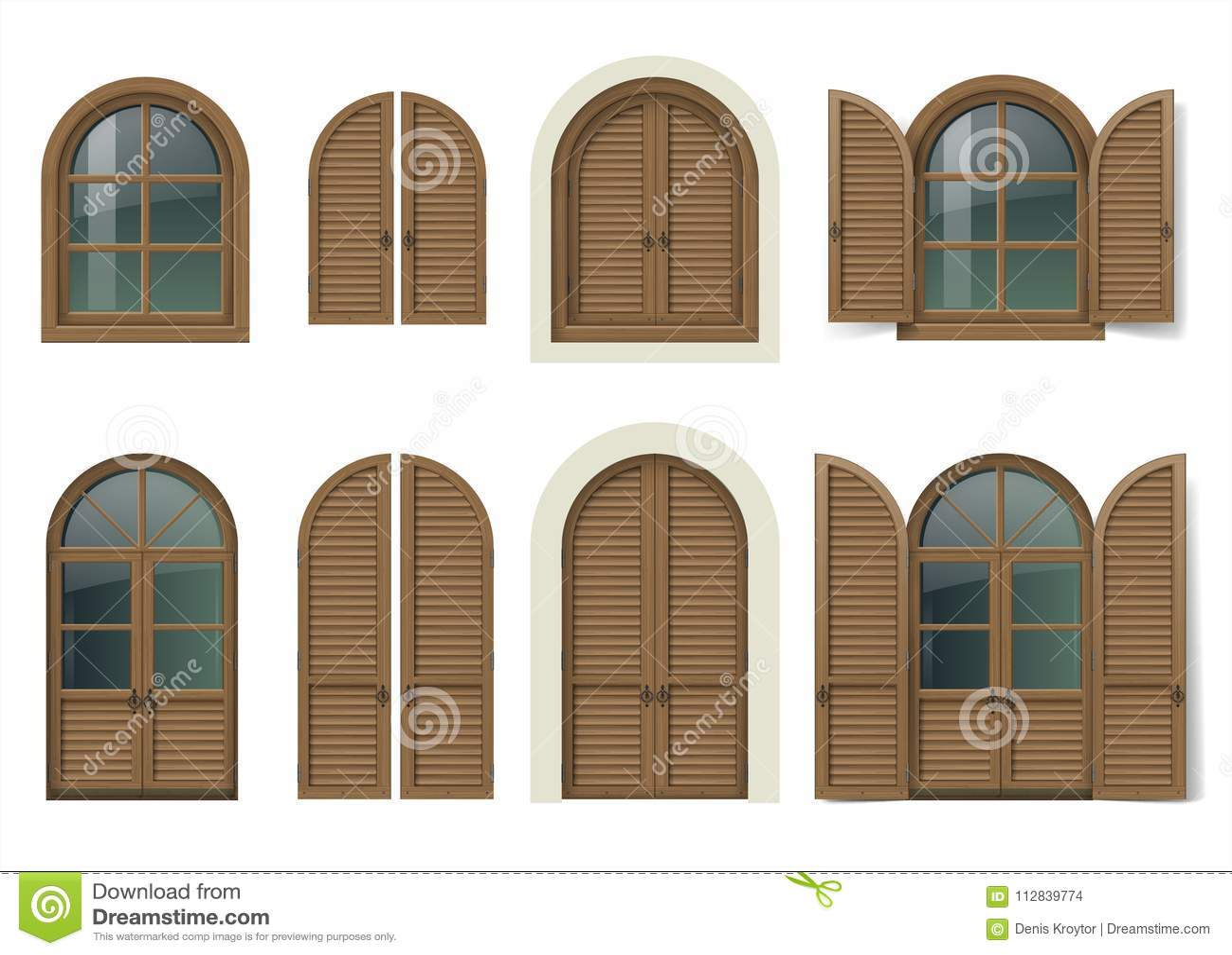 Wooden Window And Doors With Shutters Stock Vector