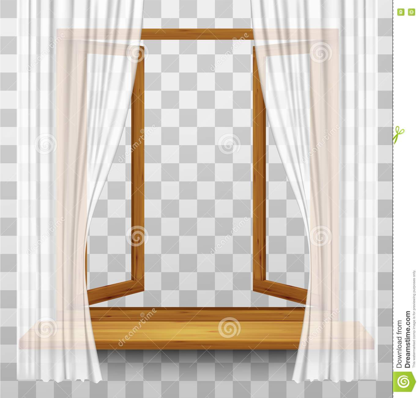 Coral window curtains