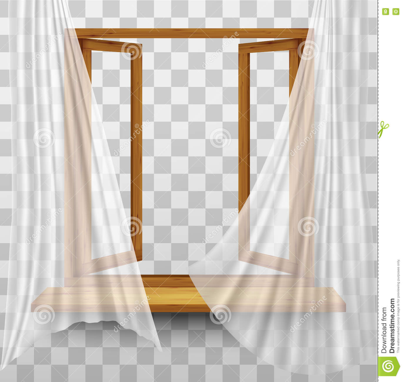 Wooden Window Frame With Curtains Stock Vector Image