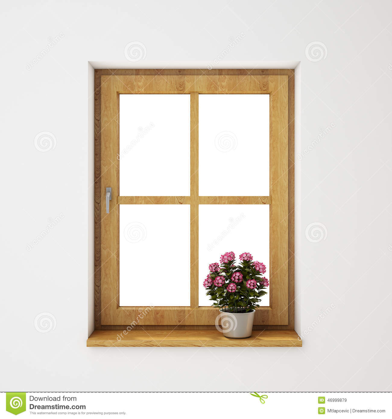 Vintage wooden window frame with curtain and flowerpot stock - Wooden Window Frame With Flowerpot On The White Wall Background Royalty Free Stock Images