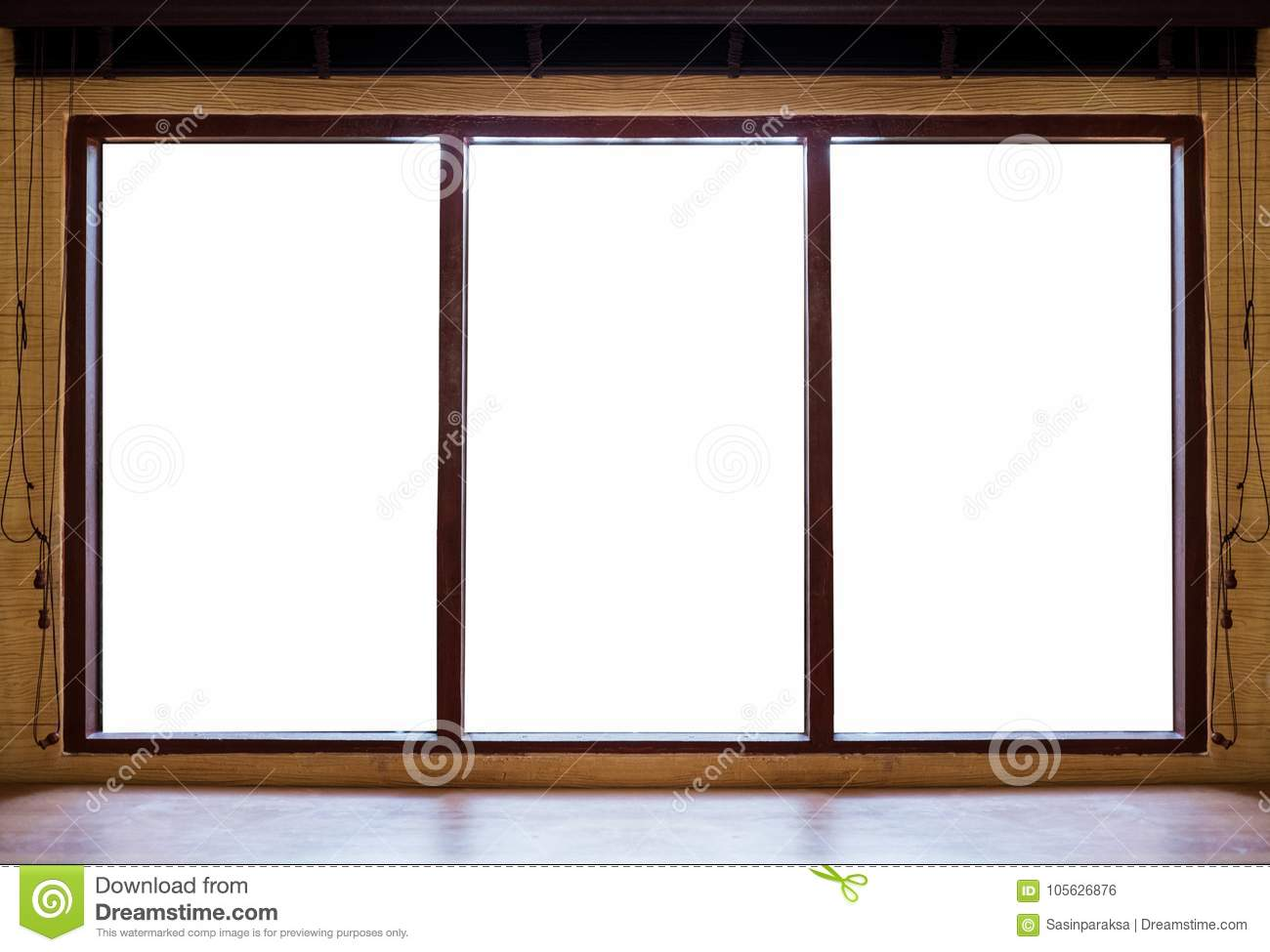 Wooden Window Frames With Desk, On White Background Stock Photo ...