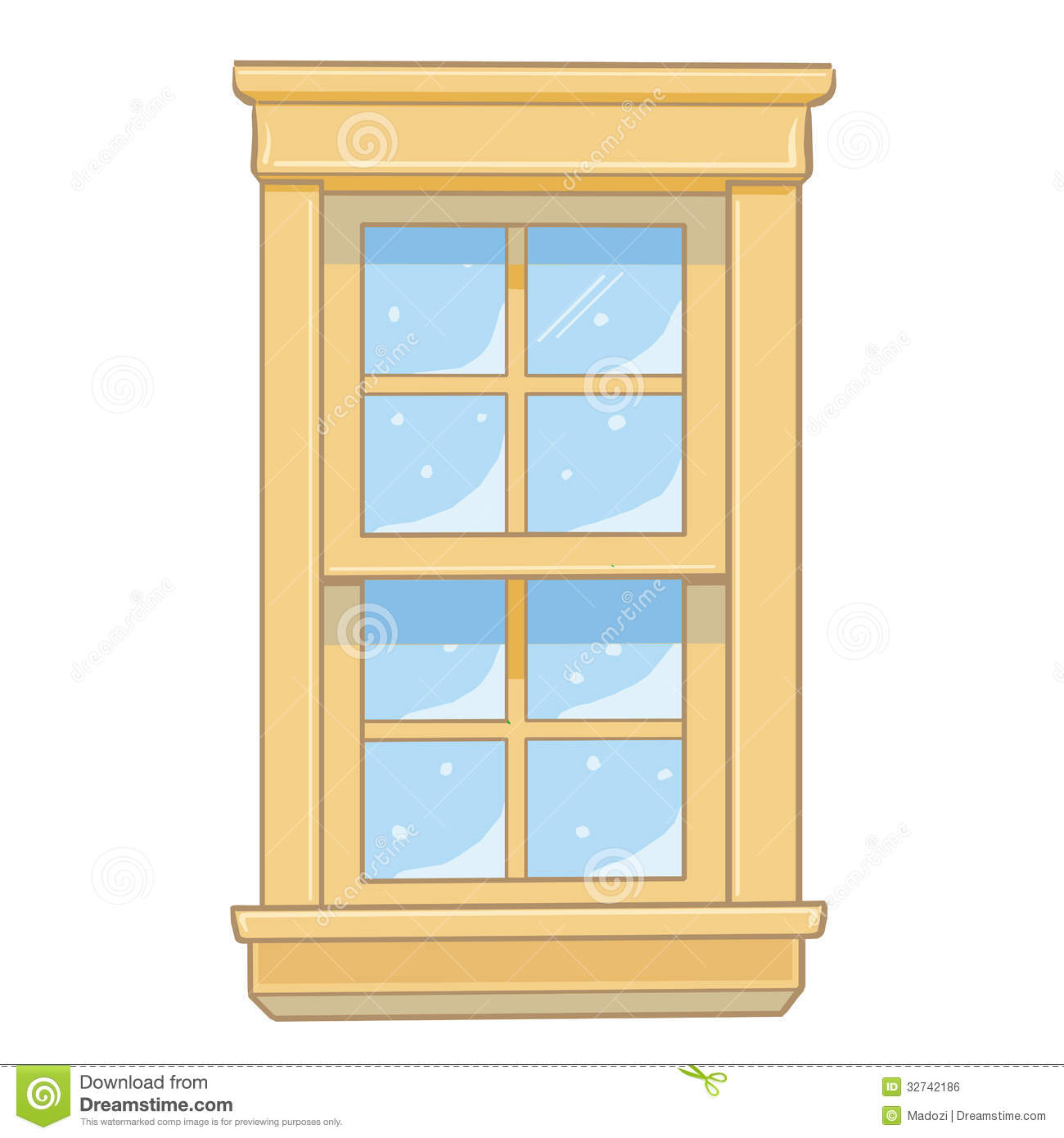 Wooden window isolated illustration royalty free stock for Window design cartoon