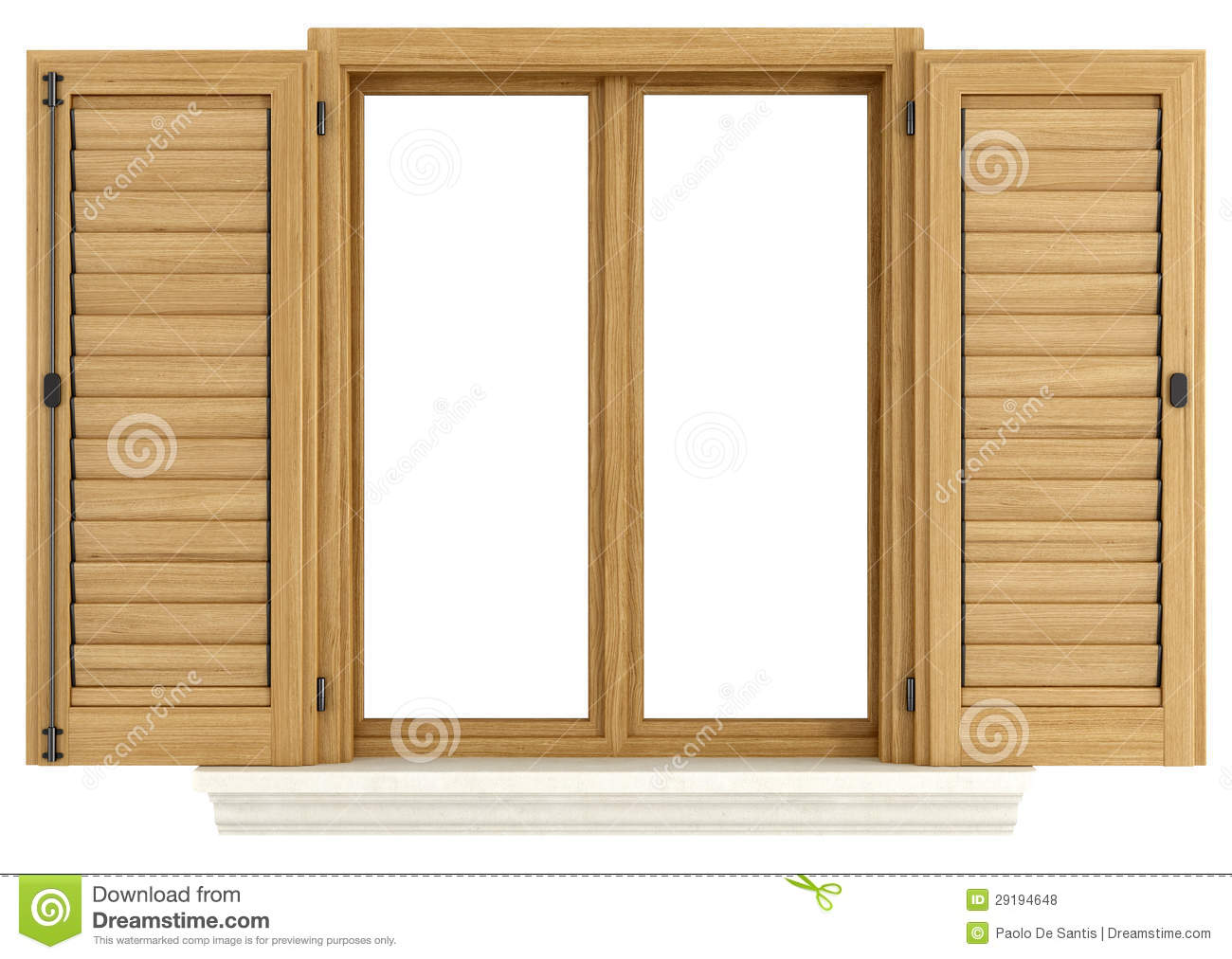 Wooden Window Shutters : Wooden window with open shutter stock illustration