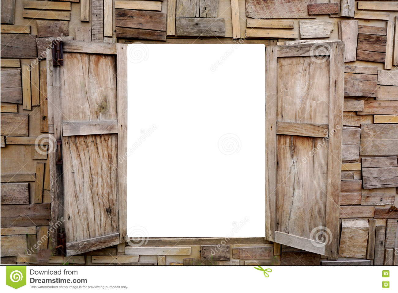 Wooden Window Opening Isolated On A White Background Stock Image ...