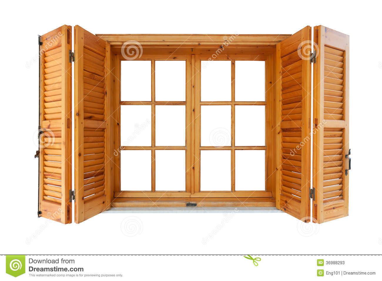 Wooden window with shutters stock image image of open - Exterior wooden shutters for windows ...