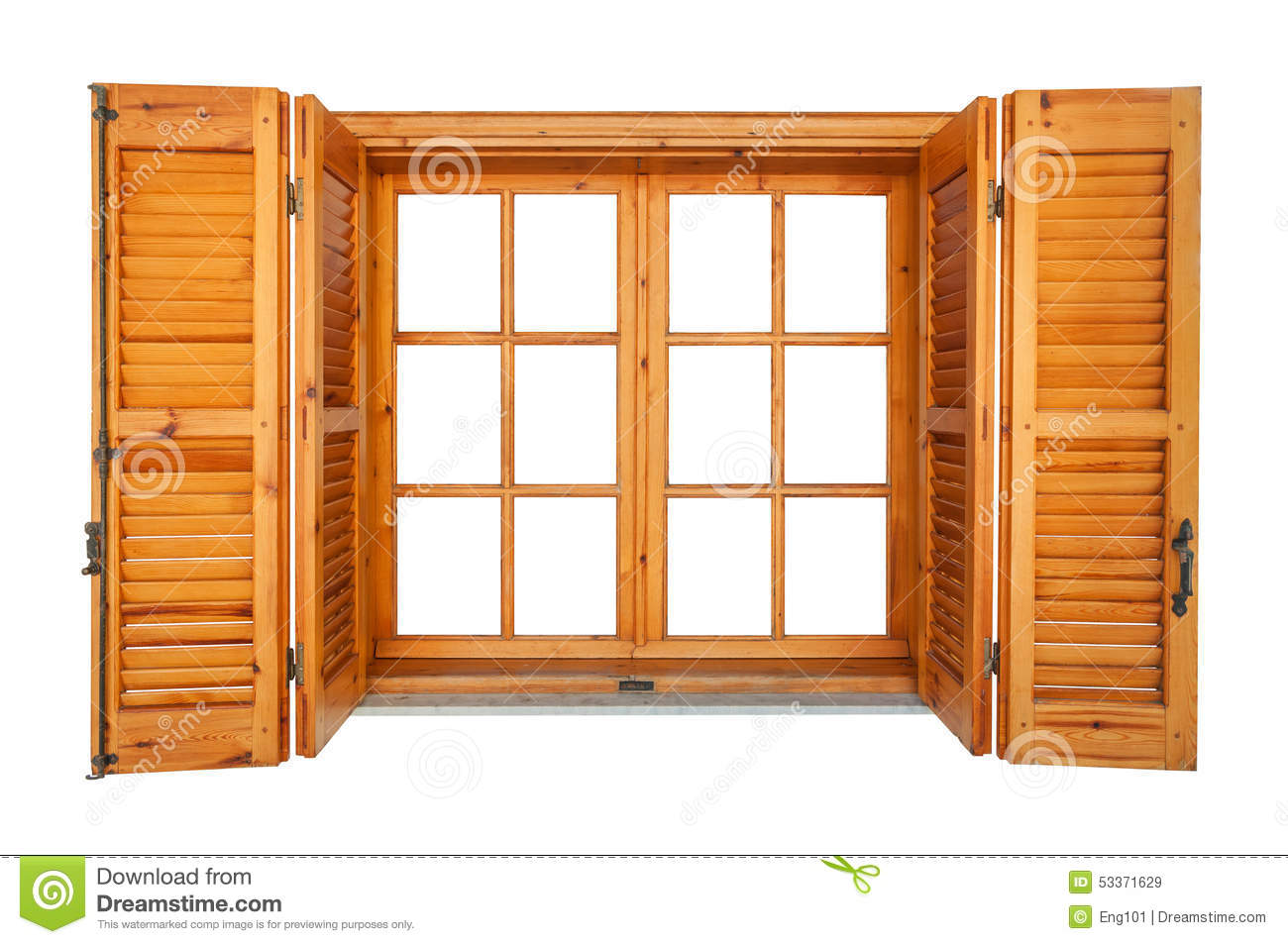 Wooden Window Shutters : Wooden window with shutters isolated stock image