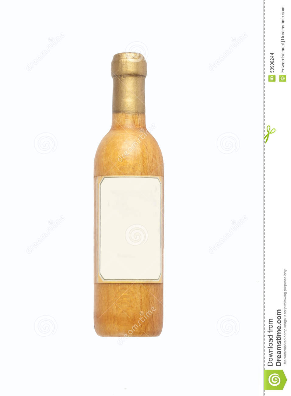 Wooden Wine Bottle And Blank Label, Isolated On White Background Stock ...