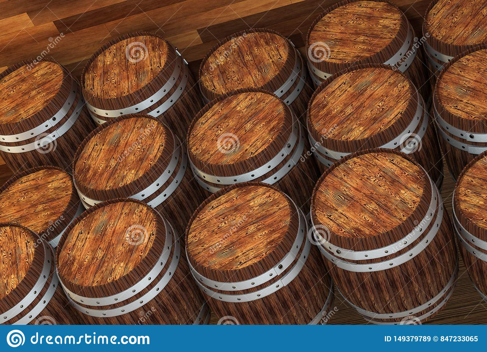 Wooden winery barrel with warm color background, 3d rendering