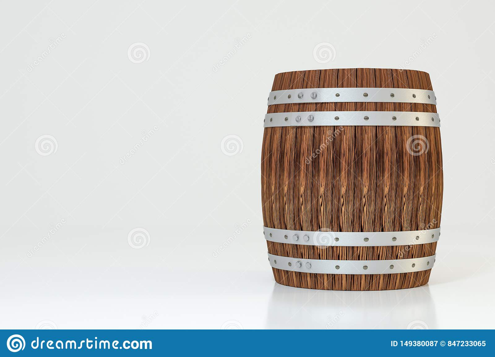 Wooden winery barrel with white background, 3d rendering