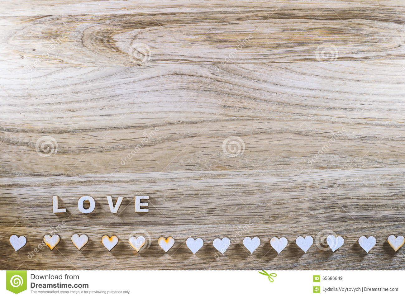 Download Wooden Word Love And The Heart On A Rustic Background Valentines Day Stock