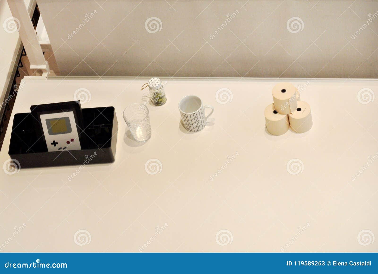 The wooden work desk