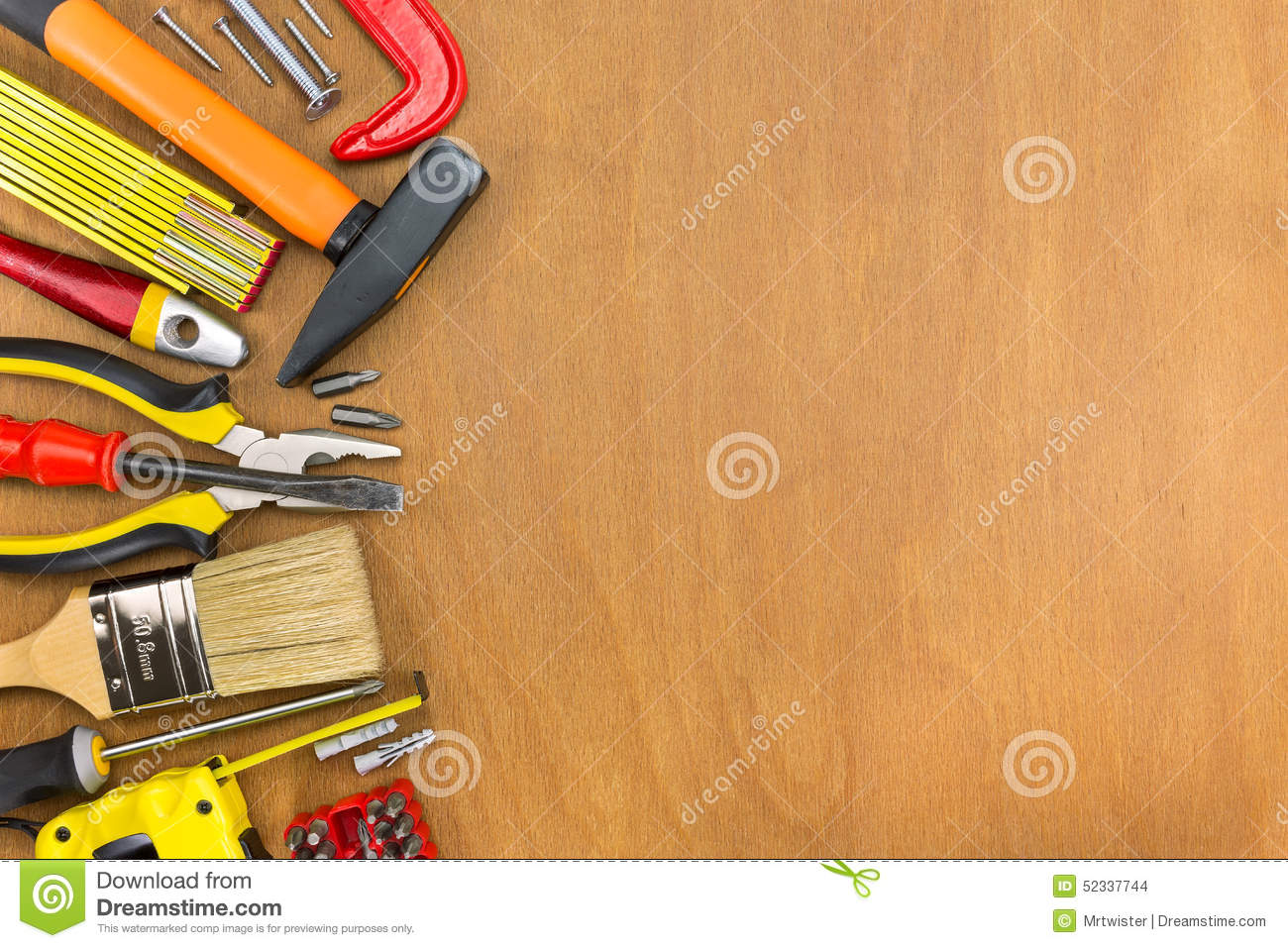 Wooden workshop table with tools stock photo image 52337744 for Table utensils