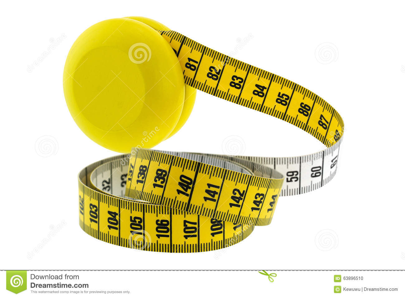 A wooden yellow YoYo with yellow measuring tape
